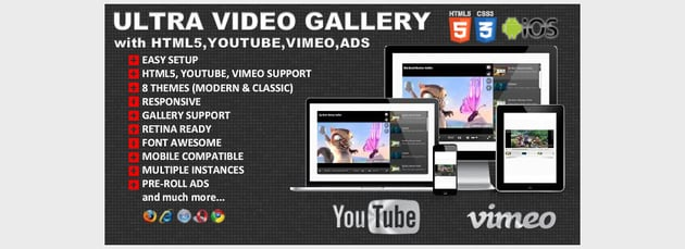 Ultra Video Gallery with Youtube Vimeo HTML5 Ads