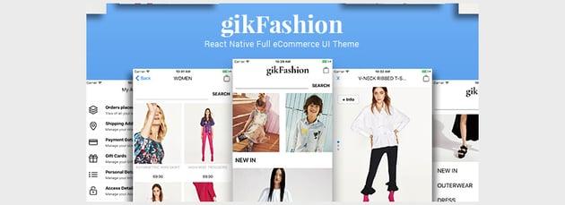 gikFashion - React Native Full eCommerce UI Theme