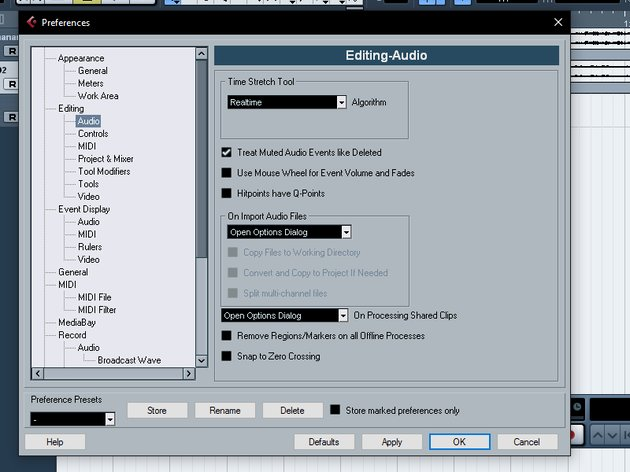 Here you can set the default Import Audio options