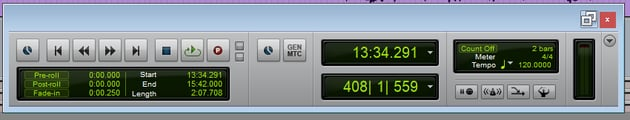 The Transport Window In Pro Tools