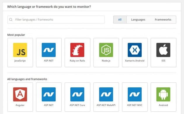 Choose Raygun Language or Framework