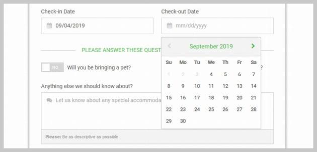 Date picker calendar UI
