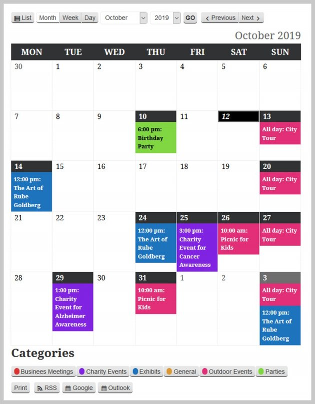 Event Calendar Unstyled