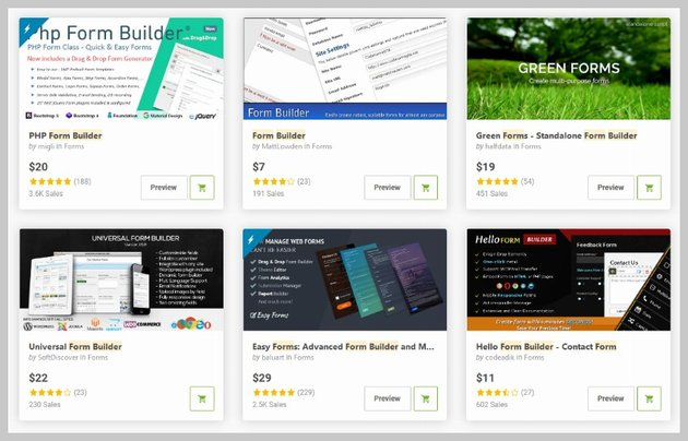 PHP Form Builders on CodeCanyon