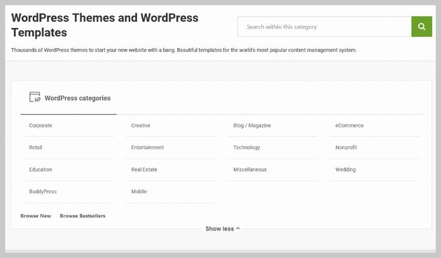 Themeforest Theme Categories