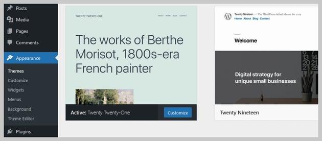 Default Theme WordPress Appearance Customize