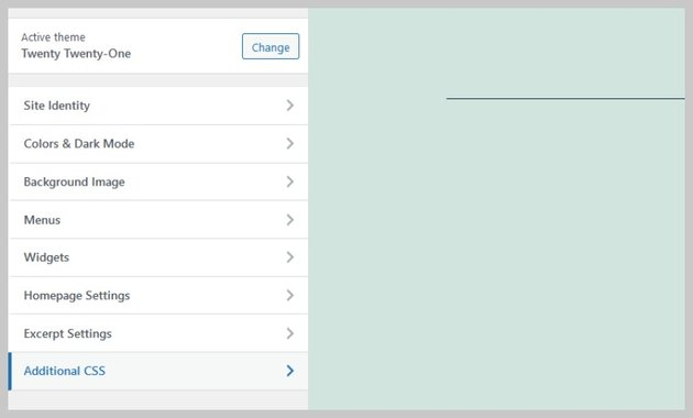 Additional CSS Menu Option in Customizer
