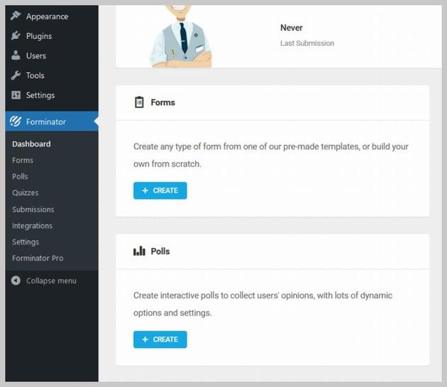 Forminator Dashboard Create Form