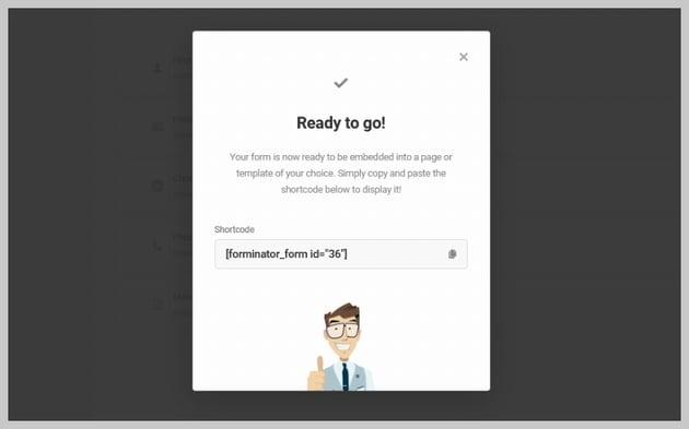 Forminator Published Form Shortcode