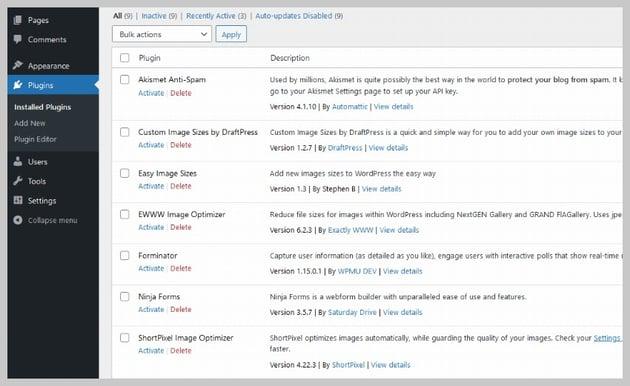 WordPress Deactivated Plugins