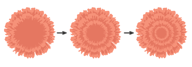 creating the pink flower 2