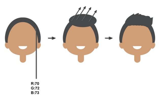 creating the hairstyle