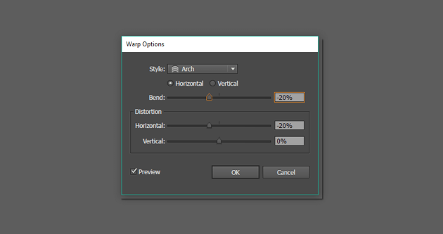 warp tool options for the sunglasses