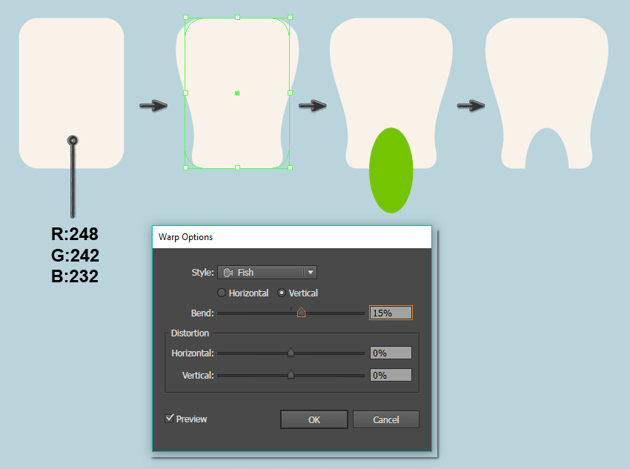 creating the tooth shape