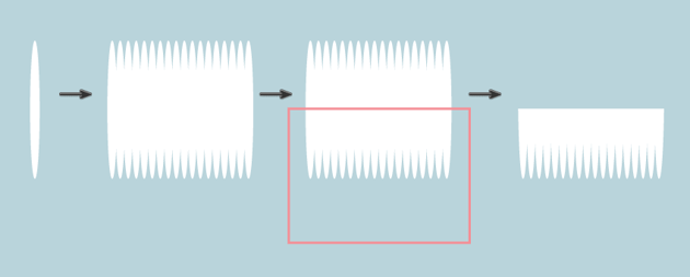 creating the bristles of the toothbrush