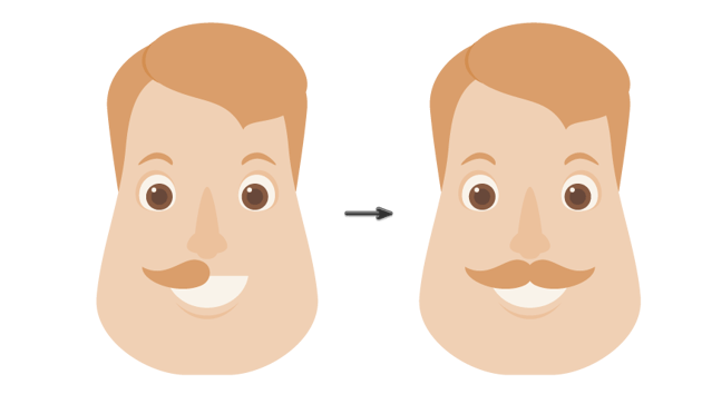 placing the mustache and creating another one