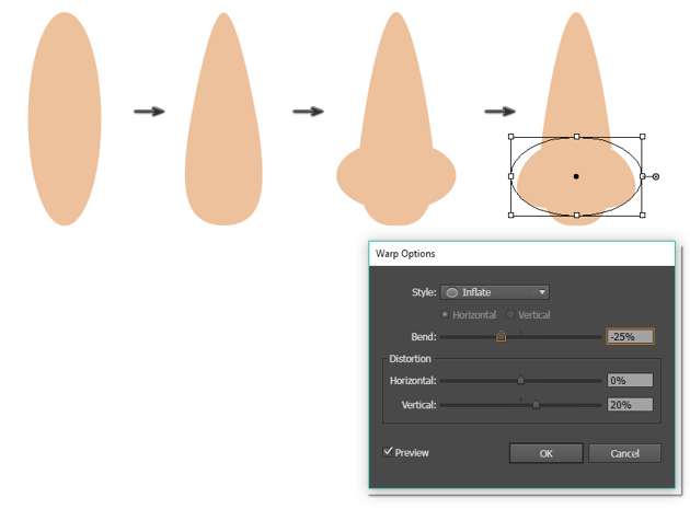 creating the nose 2