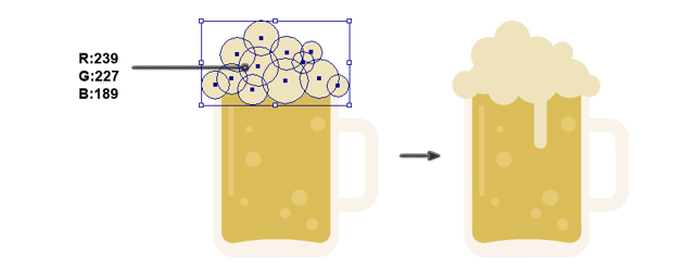 creating the foam on the beer