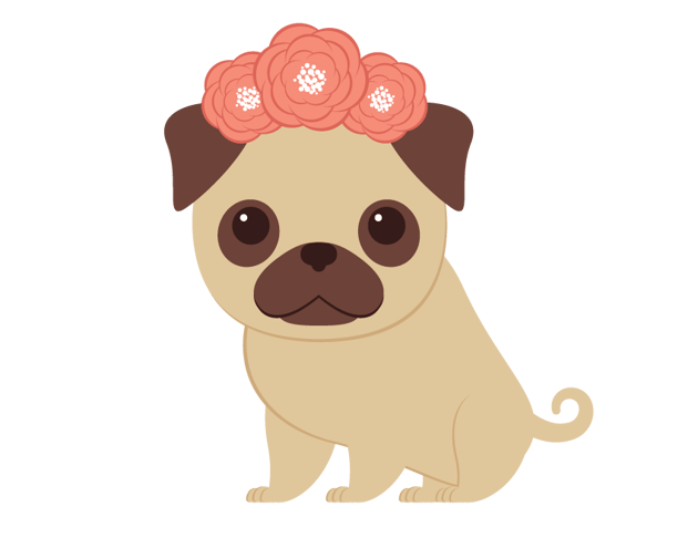 creating the wreath and placing on the pugs head