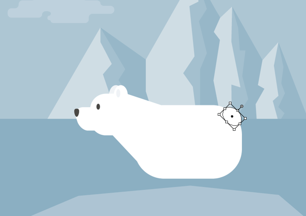 creating the tail of the polar bear