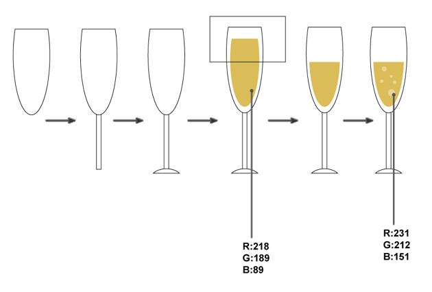 how to create the glass with champagne