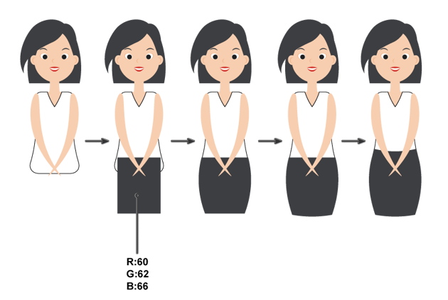 how to create the white blouse and black skirt