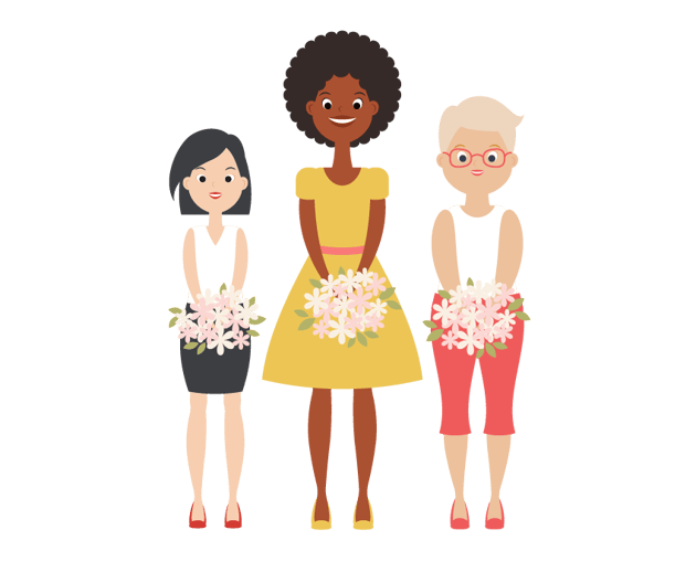 giving the bouquets to the women