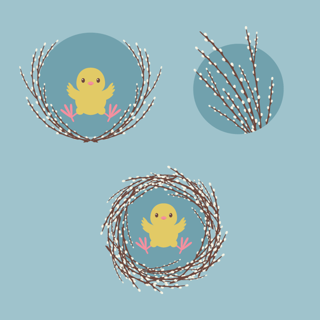 placing the compositions with chicks on the background