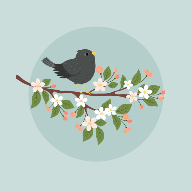 placing the branch with starling on the background