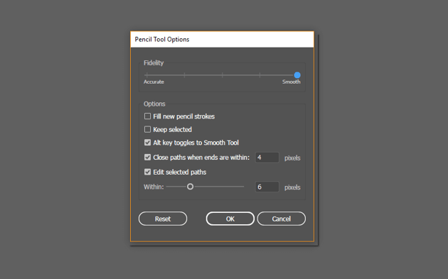 the Pencil Tool Options window