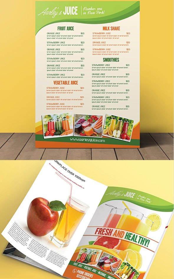 Fruit Juice Menu Flyer Magazine Ad