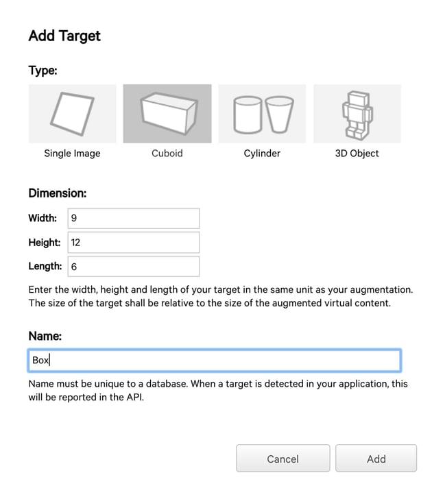 Adding a Cuboid Target