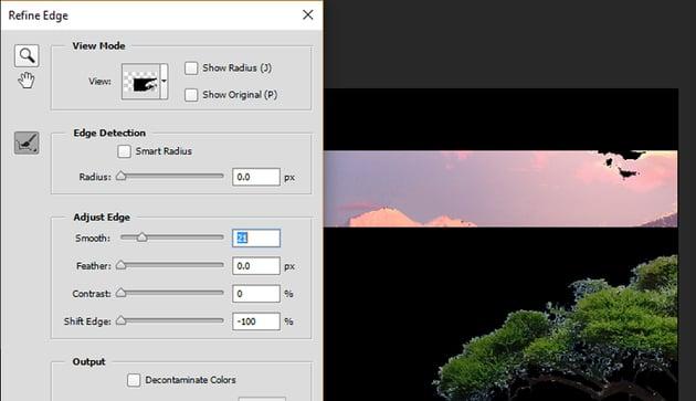On the Refine Edge options menu