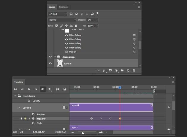 Creating fourth keyframe for layer 8