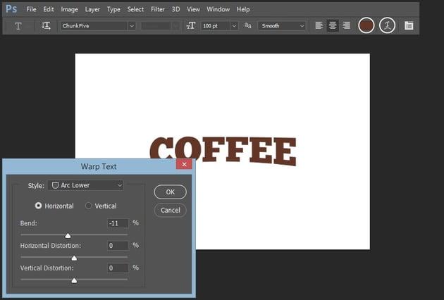 Adding warp text effect