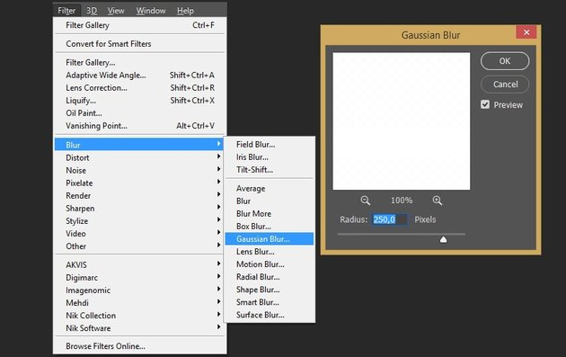 Adding gaussian blur to the smart object