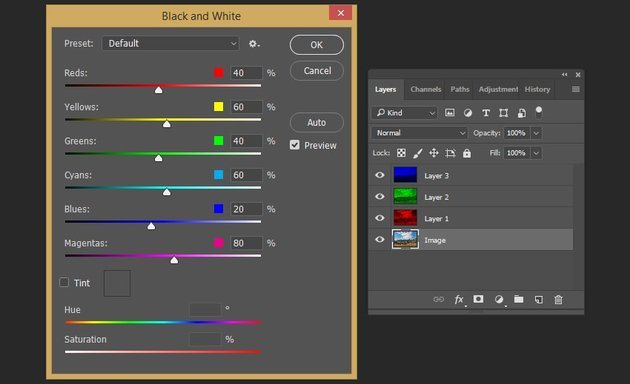 Creating the black and white effect