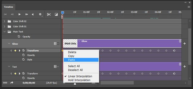 creating the animation for the second text layer