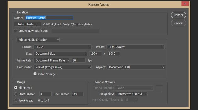 setting up the render options