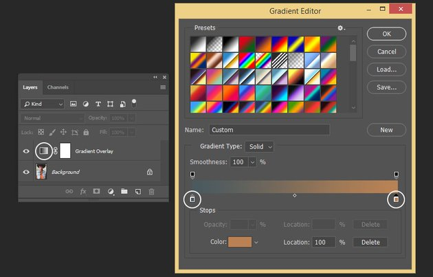 Creating colors for the gradient map