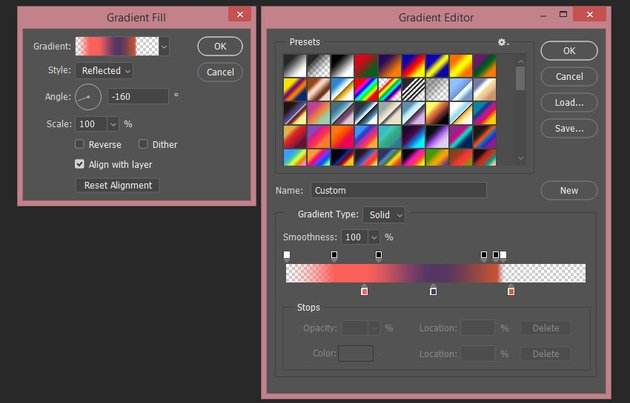 Creating the second gradient fill layer