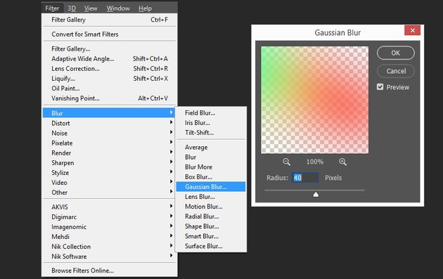 adding the gaussian blur effect to the first rainbow layer