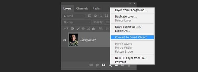 converting the layer to the smart object