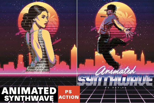 Animated 80s Synthwave Poster - Photoshop Action