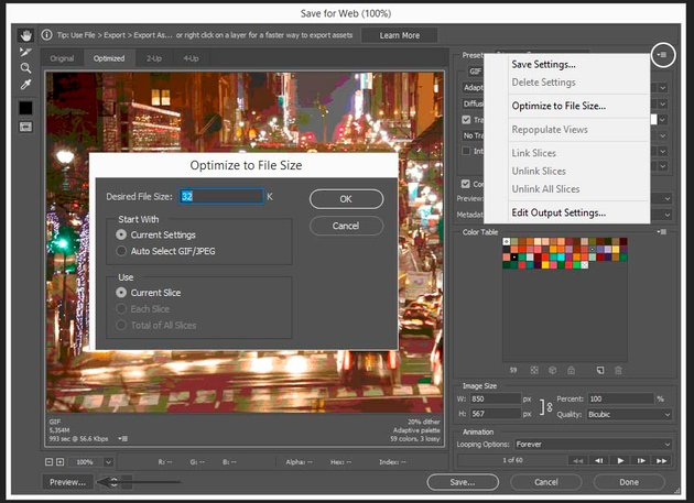 saving the preset using preview and optimizing to file size