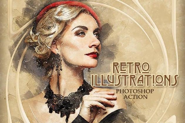 Retro Illustrations Photoshop Action