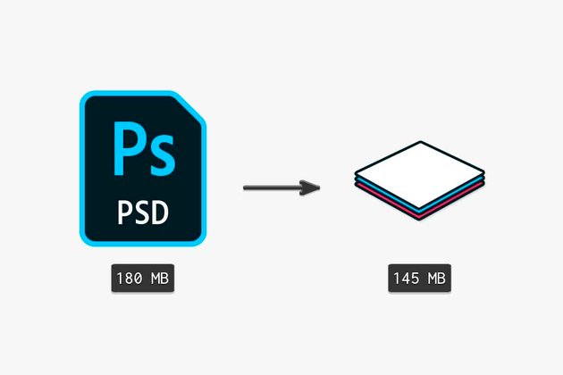 comparing the original file size to a merged layers file size