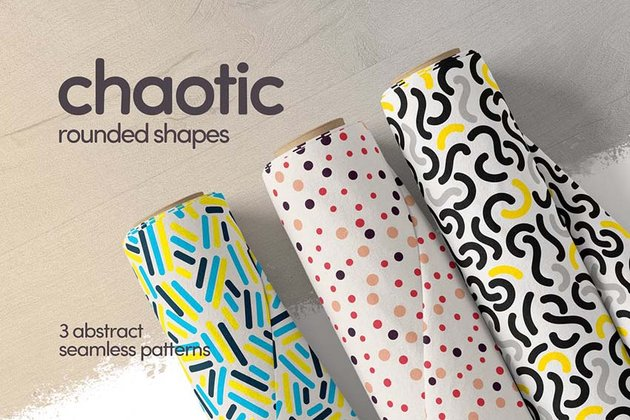 Colorful Chaotic Rounded Shapes Seamless Patterns