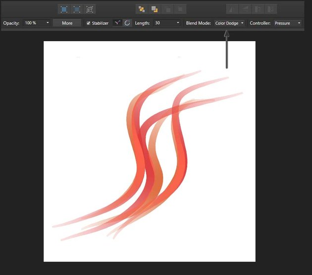 changing the blending mode of the brushstrokes