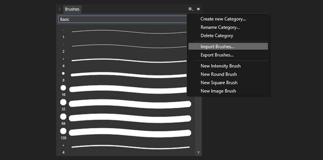 how to install brushes in Affinity Designer
